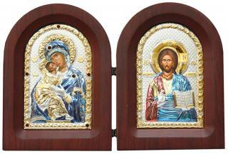 Владимирская Б.М. и Спаситель - диптих, складень с посеребренными иконами (с эмалью)
