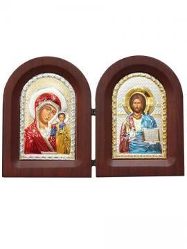 Казанская Б.М. и Спаситель - диптих, складень с посеребренными иконами (с эмалью)