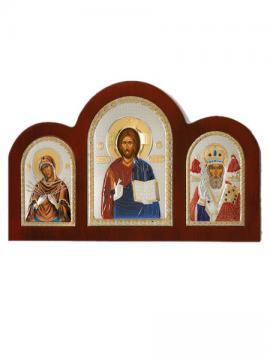 Семистрельная Б.М., Спаситель, свт. Николай - триптих из посеребренных икон (с эмалью)
