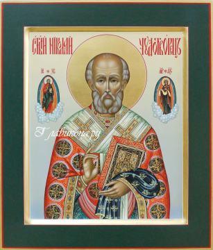 Икона Николая Чудотворца в стиле палех, артикул 515