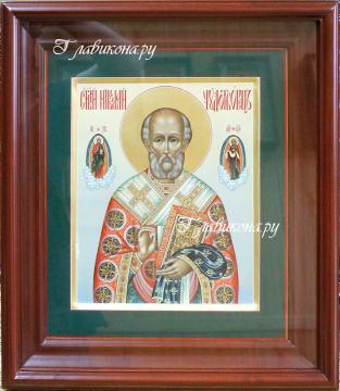 икона Николая Чудотворца в киоте, артикул 515