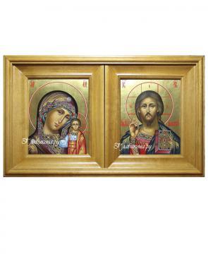 киот двойной для венчальной пары, цвет - золотистый, размер иконы 13х16