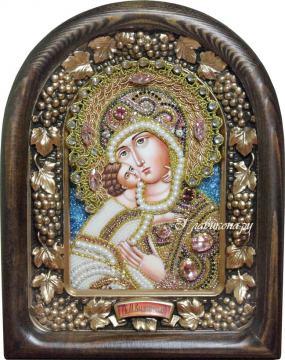 Владимирская икона Божией Матери из бисера в киоте