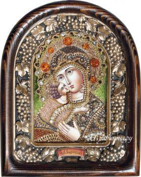 Владимирская икона БМ сделанная бисером в киоте