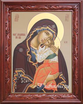 икона Яросвлавской БМ в резном киоте, артикул 232