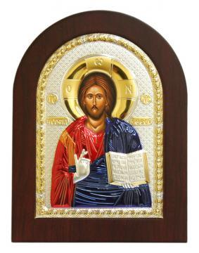 Спас Премудрый (Господь), икона в посеребренном окладе (с эмалью)