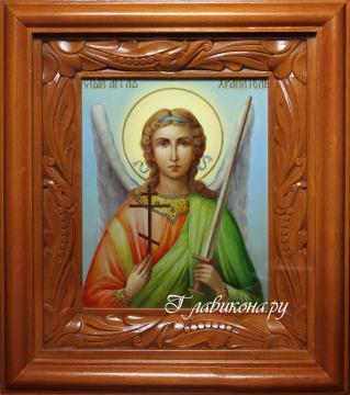 Икона Ангела Хранителя, в живописном стиле, артикул 706 - вариант оформления иконы в киот