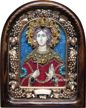 Святая Вероика, икона бисером в киоте