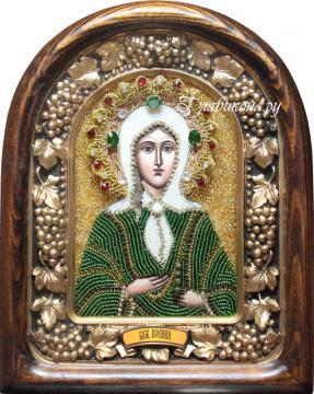 Ксения Петербургская, икона из бисера в киоте