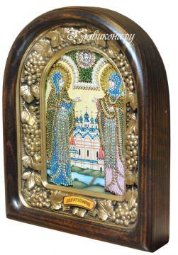 Петр и Феврония (светлые одежды), дивеевская икона из бисера