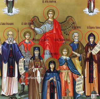 Писаная семейная икона с 7-ю святыми покровителями и Ангелом, артикул 4011 - лики святых