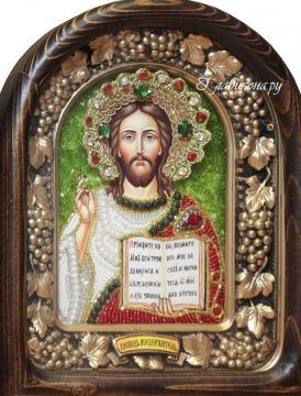 Икона Спасителя, красные одежды, дивеевская икона из бисера