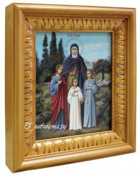Икона Софии, Веры, Надежды, Любви, артикул 430, вид в киоте