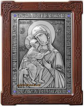Феодоровская Божия Матерь, оформление - синие стразы, артикул 11136