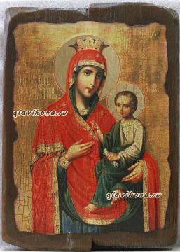 Скоропослушница Божия Матерь, икона под старину на дереве