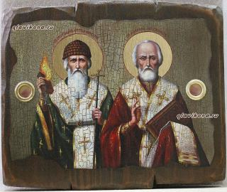 Спиридон и Николай, икона под старину на дереве, с мощевиком, 19х27 см