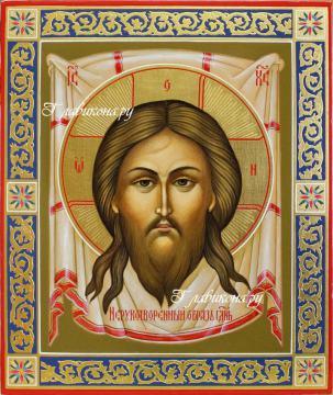 Икона Спас Нерукотворный, икона с резьбой, артикул 632