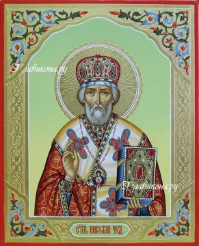 Рукописная икона Николая Чудотворца, артикул 6034