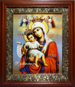 Достойно Есть Божия Матерь, икона на холсте в широком киоте