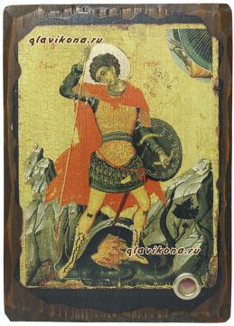 Икона Георгия Победоносца под старину