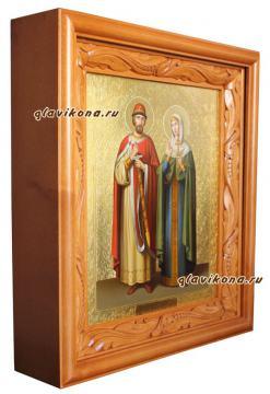 Петр и Феврония, артикул 815 - вариант оформления иконы в деревянный киот