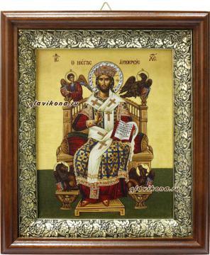 Спас Великий Архиерей, икона на холсте в широком киоте