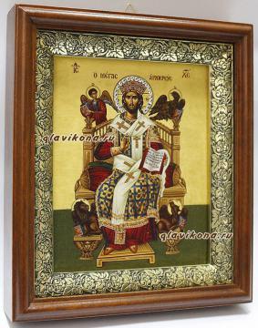 Спас Великий Архиерей, икона на холсте в широком киоте - вид сбоку