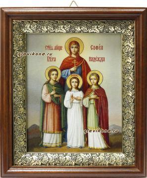 Вера, Надежда. Любовь и Софья, икона на холсте