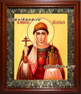Ольга равноапостольная, икона на холсте в широком киоте