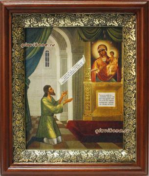 Нечаянная Радость Божия Матерь, икона на холсте в широком киоте