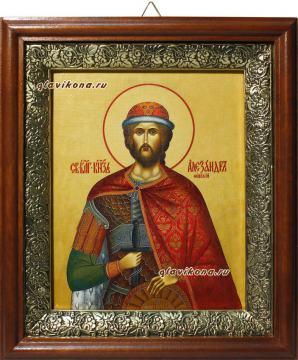 Александр Невский, икона на холсте в широком киоте
