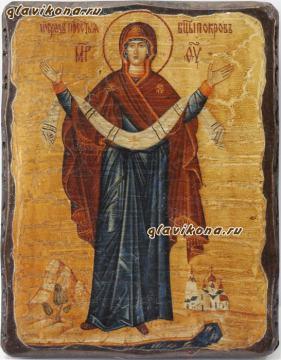 Покров икона состаренная