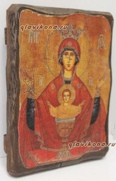 Неупиваемая Чаша Божия Матерь, икона искусственно состаренная