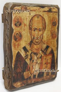 Николай Чудотворец, икона искусственно состаренная