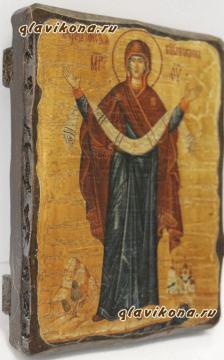 Покров Пресвятой Богородицы, икона искусственно состаренная