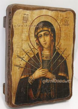 Семистрельная Божия Матерь, икона искусственно состаренная
