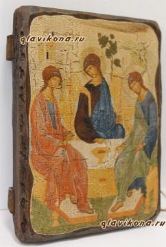 Святая Троица, икона искусственно состаренная
