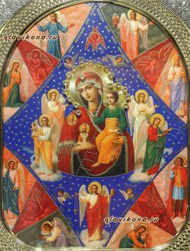 Неопалимая Купина Божия Матерь, икона в киоте, артикул 60552