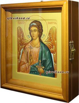 Ангел Хранитель, поясной, оливковый фон, писаная икона - вид в киоте