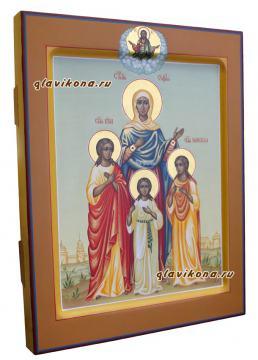 София, Вера, Надежда, Любовь, писаная икона, палех артикул 431 - вид иконы сбоку