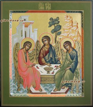 Троица Ветхозаветная, икона писанная в стиле палеха, артикул 906