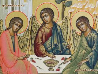 Троица Ветхозаветная, икона писанная в стиле палех - детальный вид