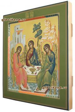 Троица Ветхозаветная, икона писанная в стиле палех - вид сбоку