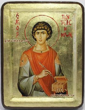 икона Пантелеймона в бархатном футляре