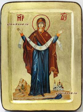 икона Покров в бархатном футляре