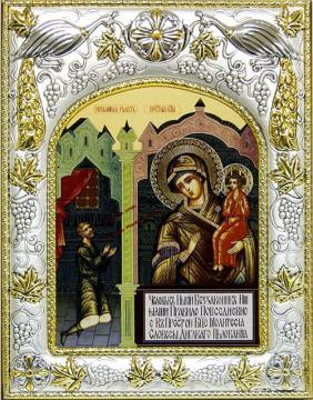 Нечаянная радость (на фоне храма), икона в ризе, артикул 41265
