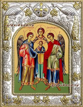 Архангелы Михаил, Гавриил и Рафаил, икона в ризе, артикул 41158