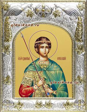 Димитрий Солунский, икона в ризе, артикул 41901