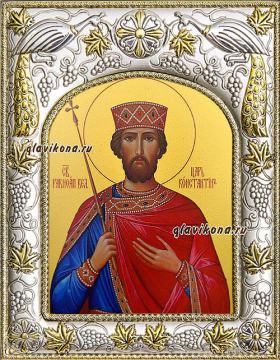 Царь Константин, икона в ризе, артикул 41003