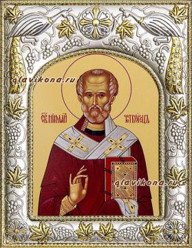 Николай Чудотворец Мирликийский, икона в ризе, артикул 41715